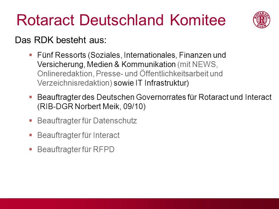 Rotaract Deutschland Komitee Das RDK besteht aus: Fünf Ressorts (Soziales, Internationales, Finanzen und Versicherung, Medien & Kommunikation (mit NEW