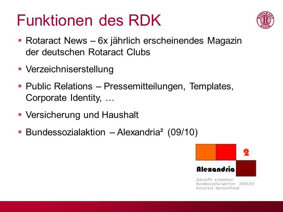 Funktionen des RDK Rotaract News – 6x jährlich erscheinendes Magazin der deutschen Rotaract Clubs Verzeichniserstellung Public Relations – Pressemitte