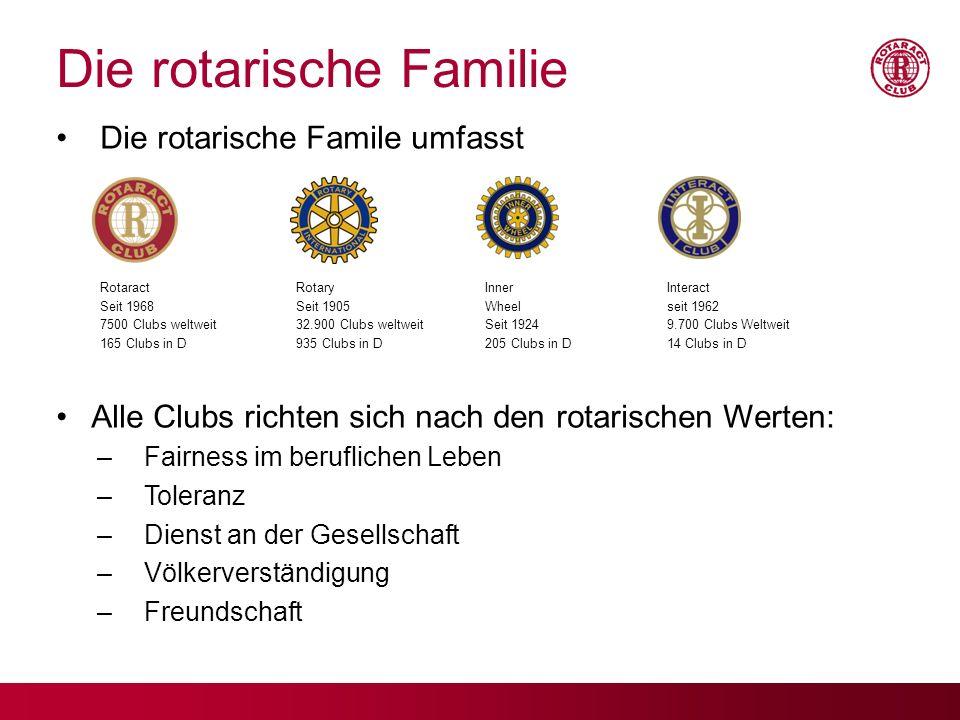 Die rotarische Familie Die rotarische Famile umfasst Alle Clubs richten sich nach den rotarischen Werten: –Fairness im beruflichen Leben –Toleranz –Di