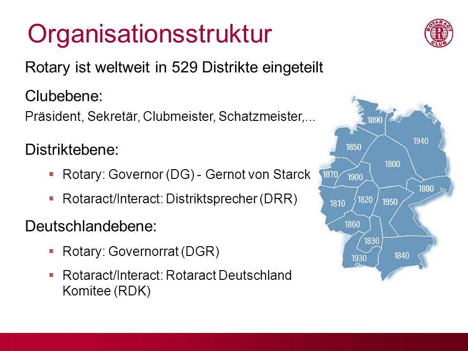 Organisationsstruktur Rotary ist weltweit in 529 Distrikte eingeteilt Clubebene: Präsident, Sekretär, Clubmeister, Schatzmeister,... Distriktebene: Ro