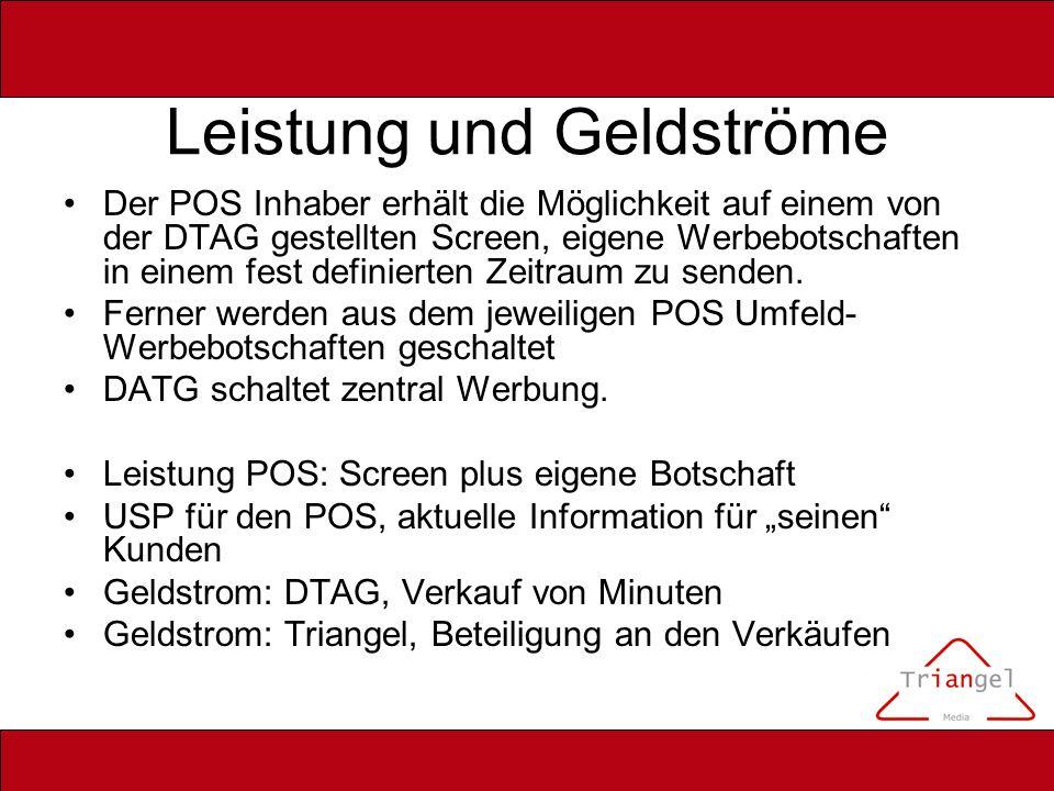 Leistung und Geldströme Der POS Inhaber erhält die Möglichkeit auf einem von der DTAG gestellten Screen, eigene Werbebotschaften in einem fest definie