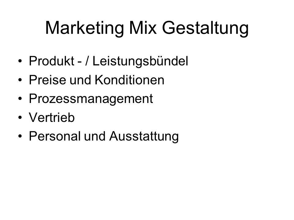 Marketing Mix Gestaltung Produkt - / Leistungsbündel Preise und Konditionen Prozessmanagement Vertrieb Personal und Ausstattung