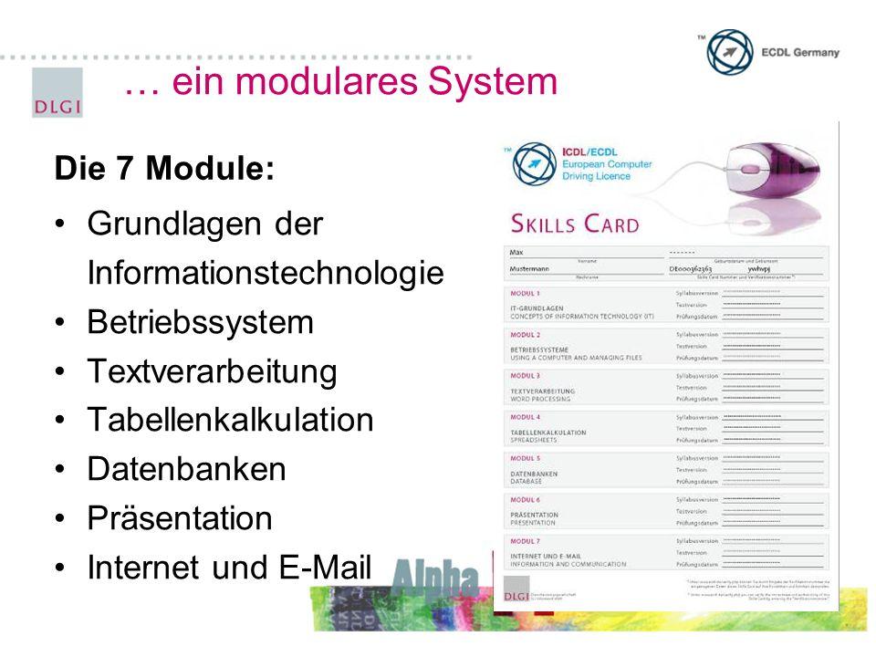 … ein modulares System Grundlagen der Informationstechnologie Betriebssystem Textverarbeitung Tabellenkalkulation Datenbanken Präsentation Internet und E-Mail Die 7 Module: