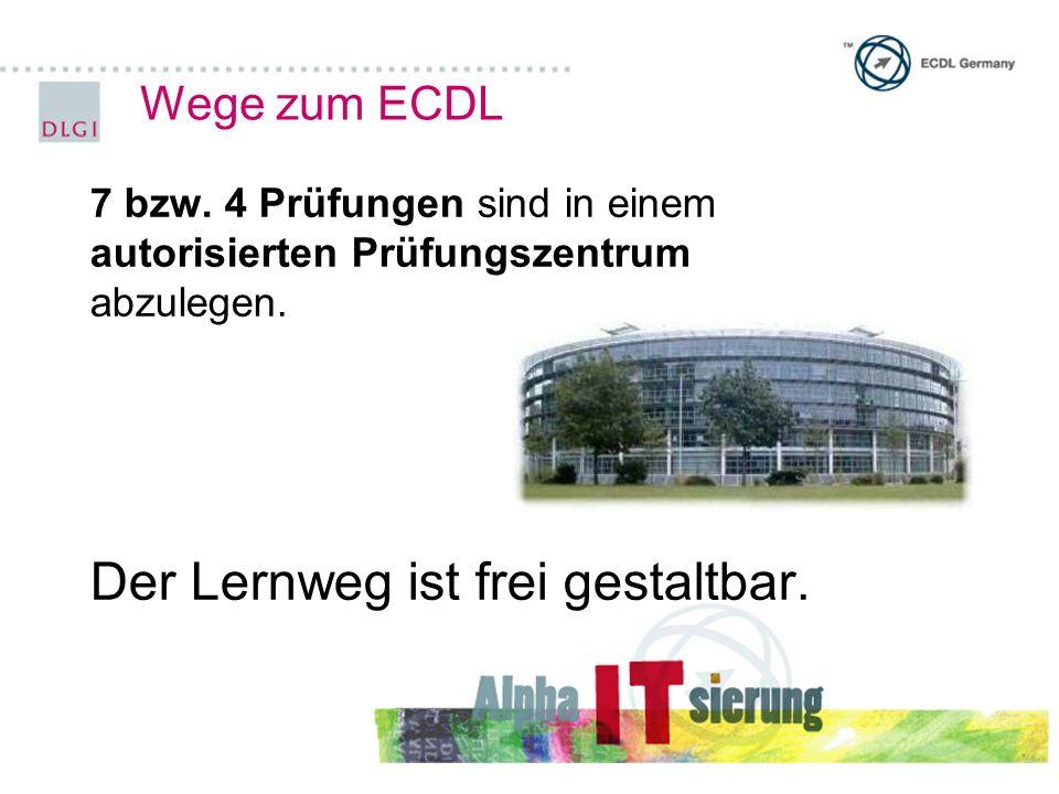 Wege zum ECDL 7 bzw.4 Prüfungen sind in einem autorisierten Prüfungszentrum abzulegen.