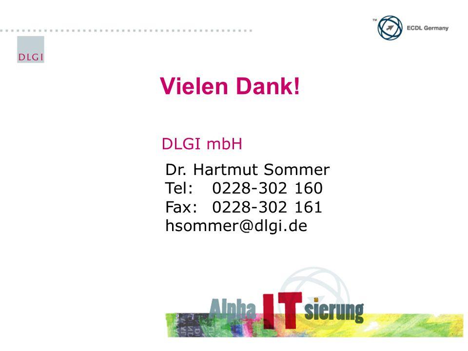Vielen Dank! DLGI mbH Dr. Hartmut Sommer Tel: 0228-302 160 Fax:0228-302 161 hsommer@dlgi.de