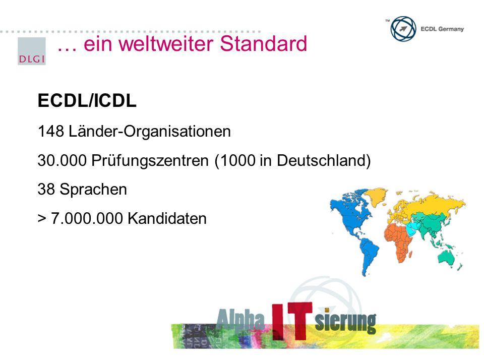 … ein weltweiter Standard ECDL/ICDL 148 Länder-Organisationen 30.000 Prüfungszentren (1000 in Deutschland) 38 Sprachen > 7.000.000 Kandidaten