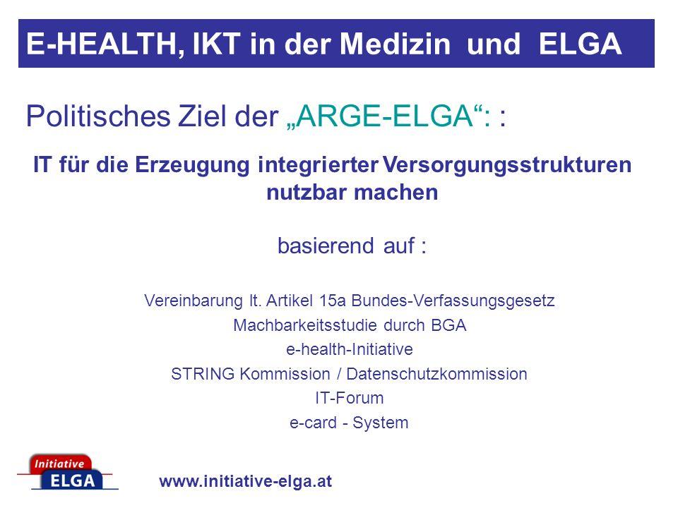 www.initiative-elga.at IT für die Erzeugung integrierter Versorgungsstrukturen nutzbar machen basierend auf : Vereinbarung lt.