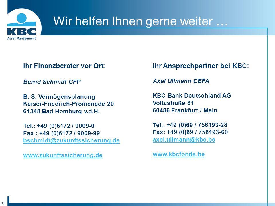 11 Wir helfen Ihnen gerne weiter … Ihr Finanzberater vor Ort: Bernd Schmidt CFP B.