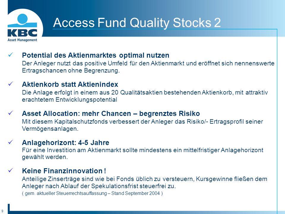 9 Access Fund Quality Stocks 2 Potential des Aktienmarktes optimal nutzen Der Anleger nutzt das positive Umfeld für den Aktienmarkt und eröffnet sich nennenswerte Ertragschancen ohne Begrenzung.