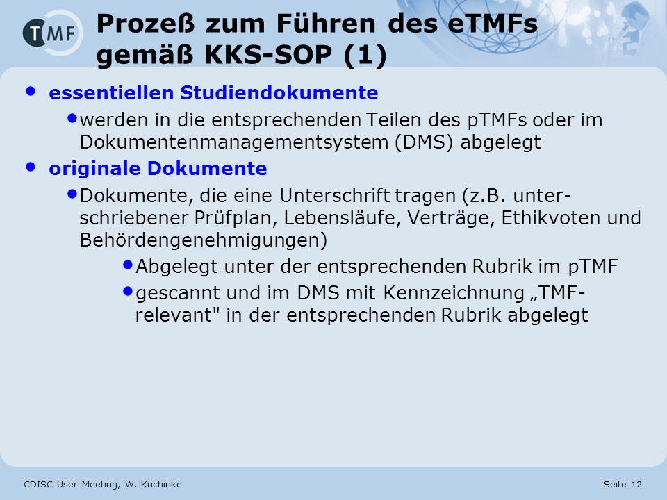 CDISC User Meeting, W. Kuchinke Seite 12 Prozeß zum Führen des eTMFs gemäß KKS-SOP (1) essentiellen Studiendokumente werden in die entsprechenden Teil