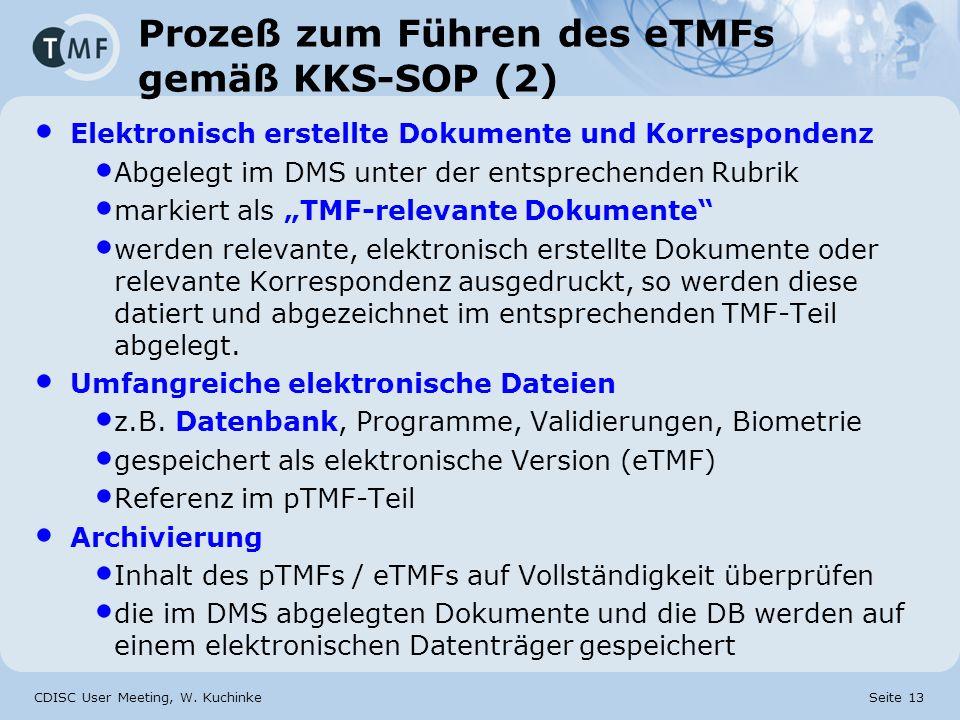 CDISC User Meeting, W. Kuchinke Seite 13 Prozeß zum Führen des eTMFs gemäß KKS-SOP (2) Elektronisch erstellte Dokumente und Korrespondenz Abgelegt im
