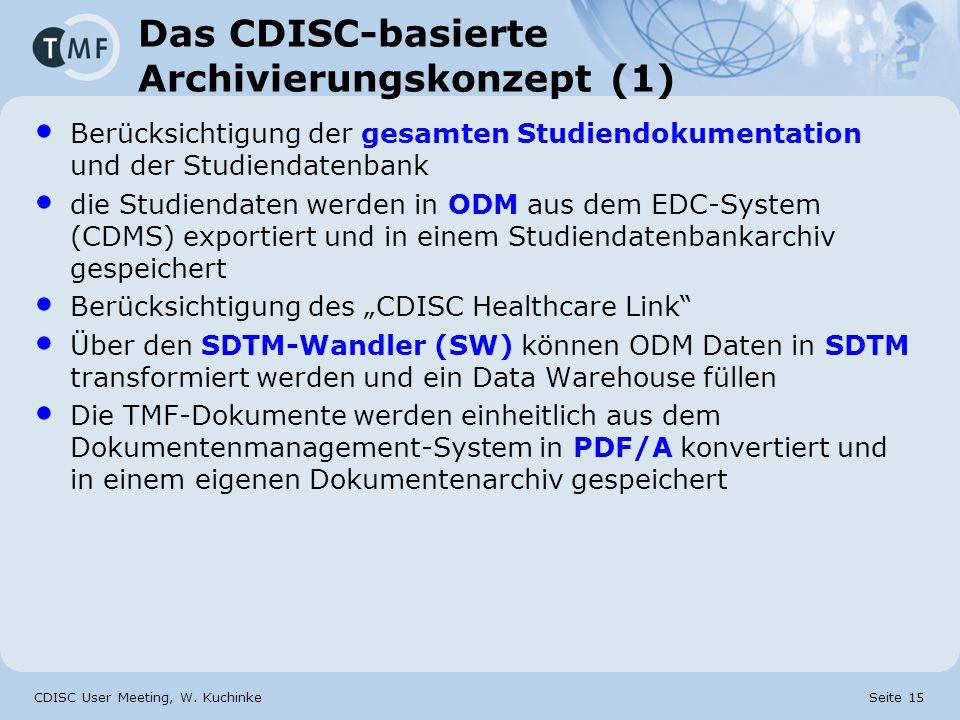 CDISC User Meeting, W. Kuchinke Seite 15 Das CDISC-basierte Archivierungskonzept (1) Berücksichtigung der gesamten Studiendokumentation und der Studie