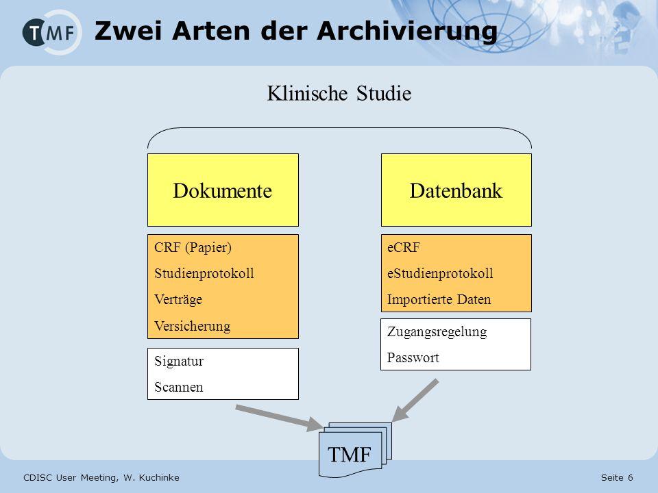CDISC User Meeting, W. Kuchinke Seite 6 Zwei Arten der Archivierung DokumenteDatenbank Klinische Studie CRF (Papier) Studienprotokoll Verträge Versich