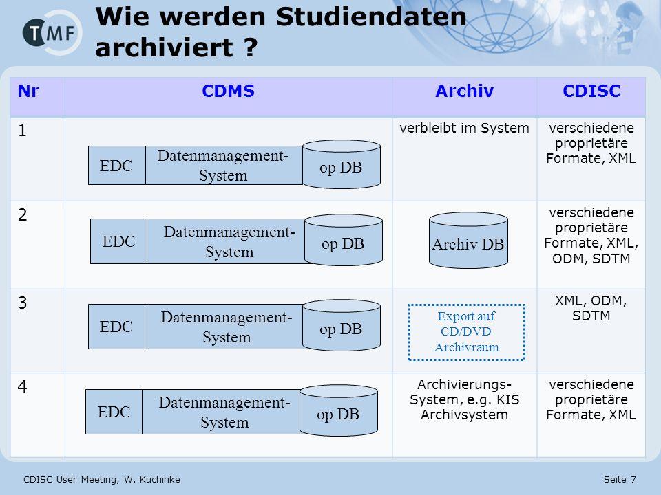 CDISC User Meeting, W. Kuchinke Seite 7 Wie werden Studiendaten archiviert ? NrCDMSArchivCDISC 1 verbleibt im Systemverschiedene proprietäre Formate,