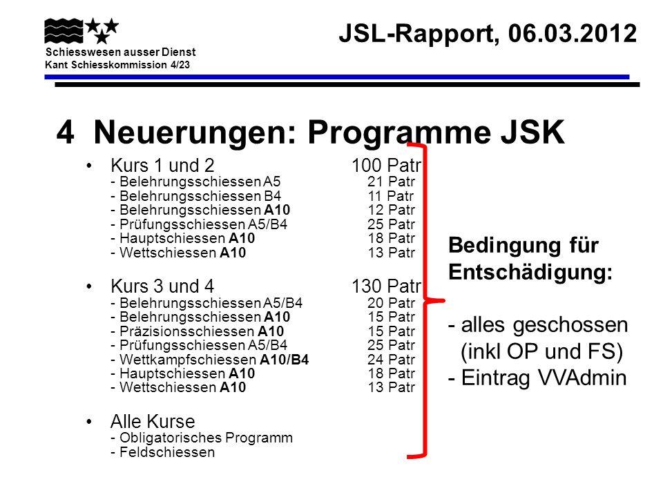JSL-Rapport, 06.03.2012 Schiesswesen ausser Dienst Kant Schiesskommission 4/23 4 Neuerungen: Programme JSK Kurs 1 und 2100 Patr - Belehrungsschiessen