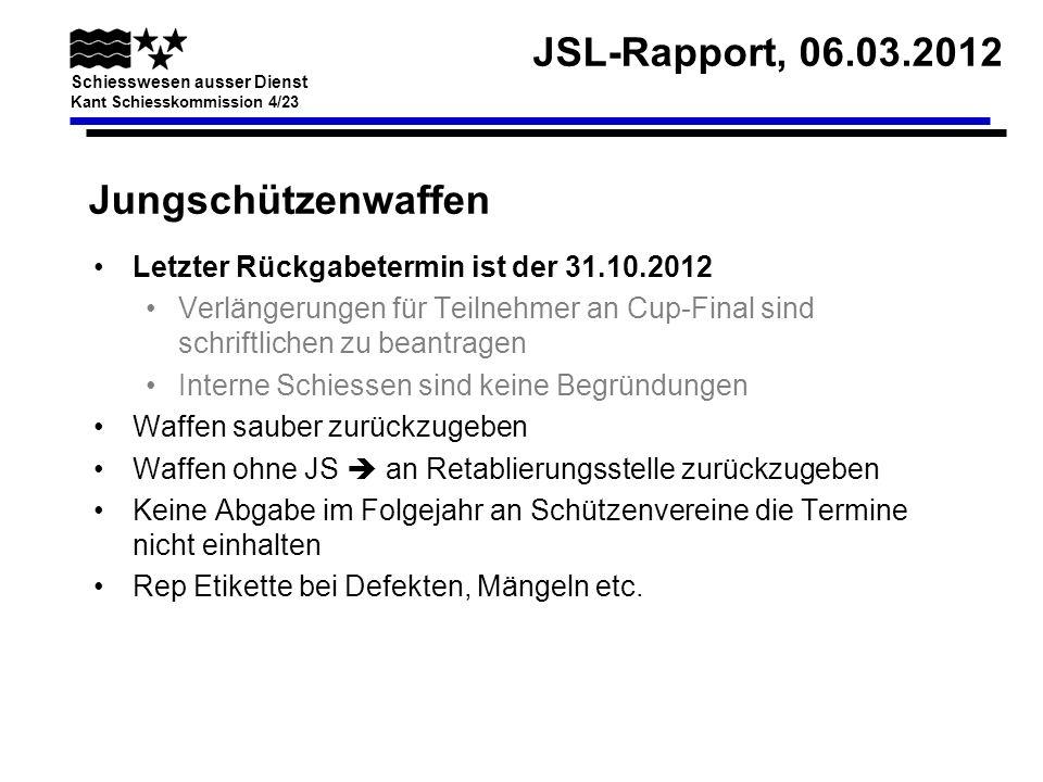 JSL-Rapport, 06.03.2012 Schiesswesen ausser Dienst Kant Schiesskommission 4/23 Jungschützenwaffen Letzter Rückgabetermin ist der 31.10.2012 Verlängeru