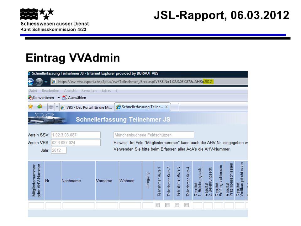 JSL-Rapport, 06.03.2012 Schiesswesen ausser Dienst Kant Schiesskommission 4/23 JSK mit weniger als 5 Teilnehmern