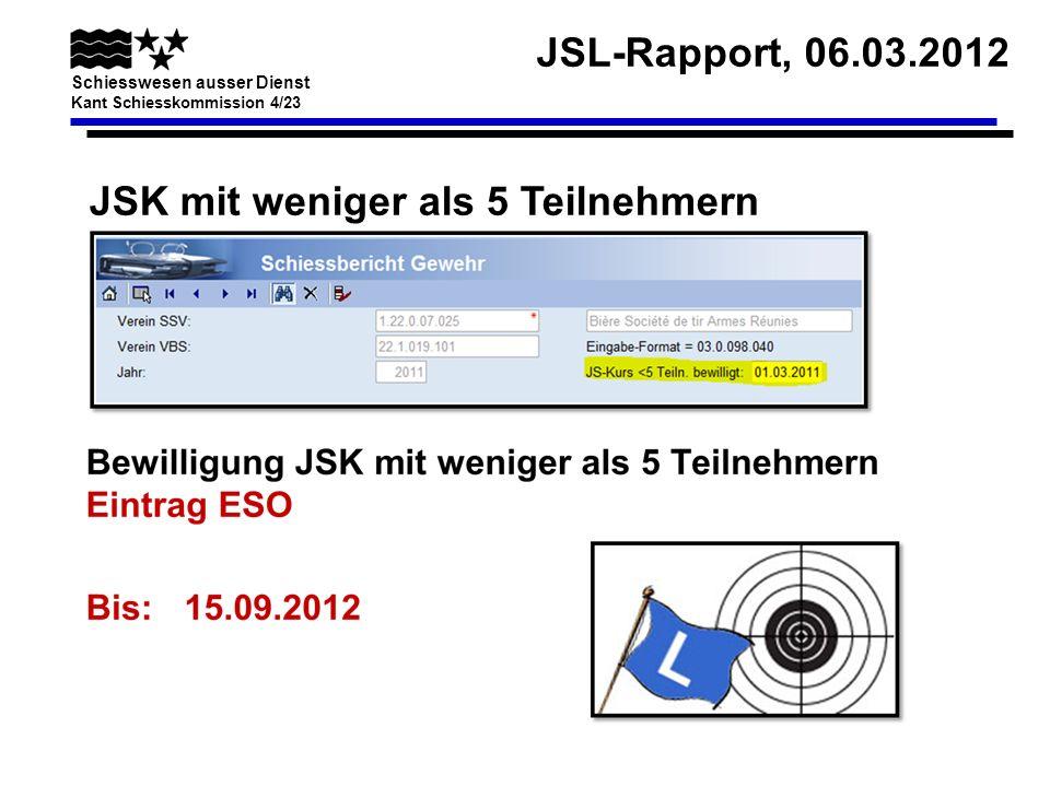 JSL-Rapport, 06.03.2012 Schiesswesen ausser Dienst Kant Schiesskommission 4/23 Waffenbestellung