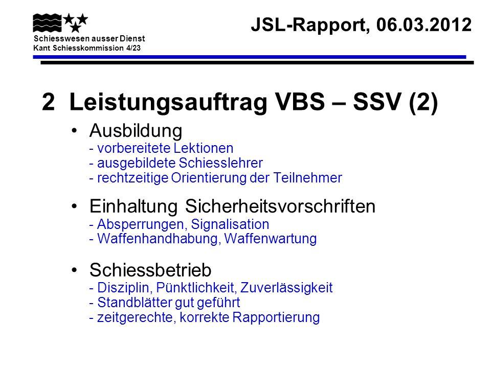 JSL-Rapport, 06.03.2012 Schiesswesen ausser Dienst Kant Schiesskommission 4/23 2 Leistungsauftrag VBS – SSV (2) Ausbildung - vorbereitete Lektionen -