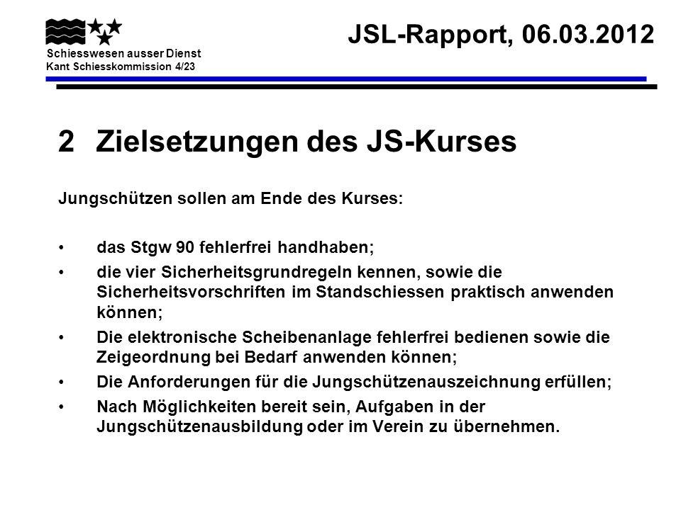 JSL-Rapport, 06.03.2012 Schiesswesen ausser Dienst Kant Schiesskommission 4/23 2Zielsetzungen des JS-Kurses Jungschützen sollen am Ende des Kurses: da