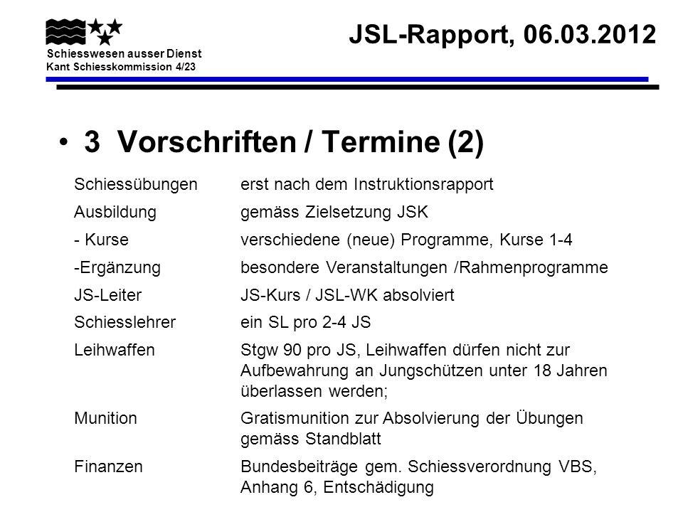 JSL-Rapport, 06.03.2012 Schiesswesen ausser Dienst Kant Schiesskommission 4/23 3 Vorschriften / Termine (3) Termin (bis)Tätigkeit 31.