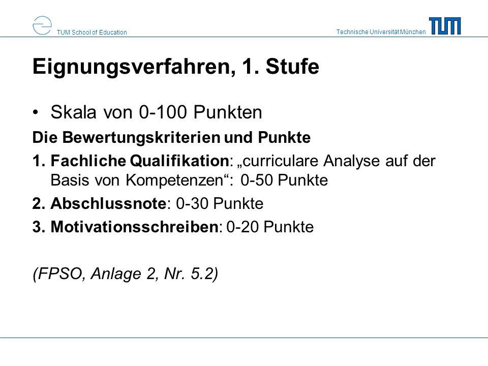 Technische Universität München TUM School of Education Eignungsverfahren, 1. Stufe Skala von 0-100 Punkten Die Bewertungskriterien und Punkte 1.Fachli