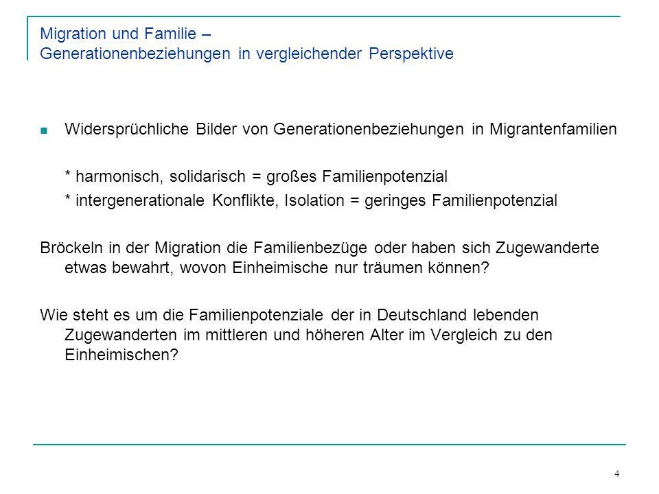 4 Migration und Familie – Generationenbeziehungen in vergleichender Perspektive Widersprüchliche Bilder von Generationenbeziehungen in Migrantenfamili