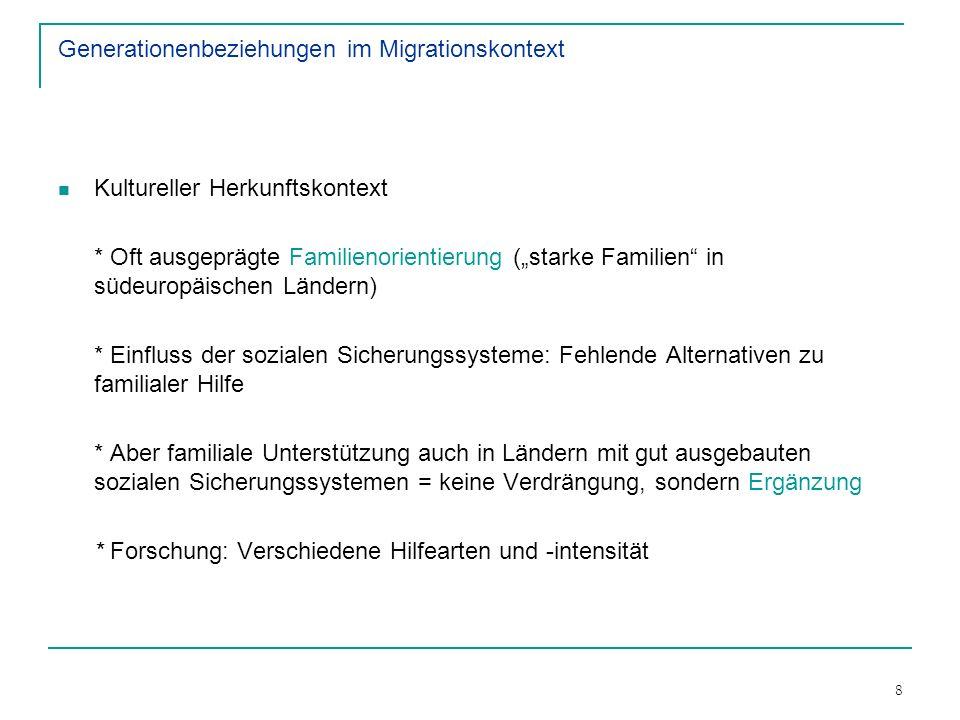 8 Generationenbeziehungen im Migrationskontext Kultureller Herkunftskontext * Oft ausgeprägte Familienorientierung (starke Familien in südeuropäischen