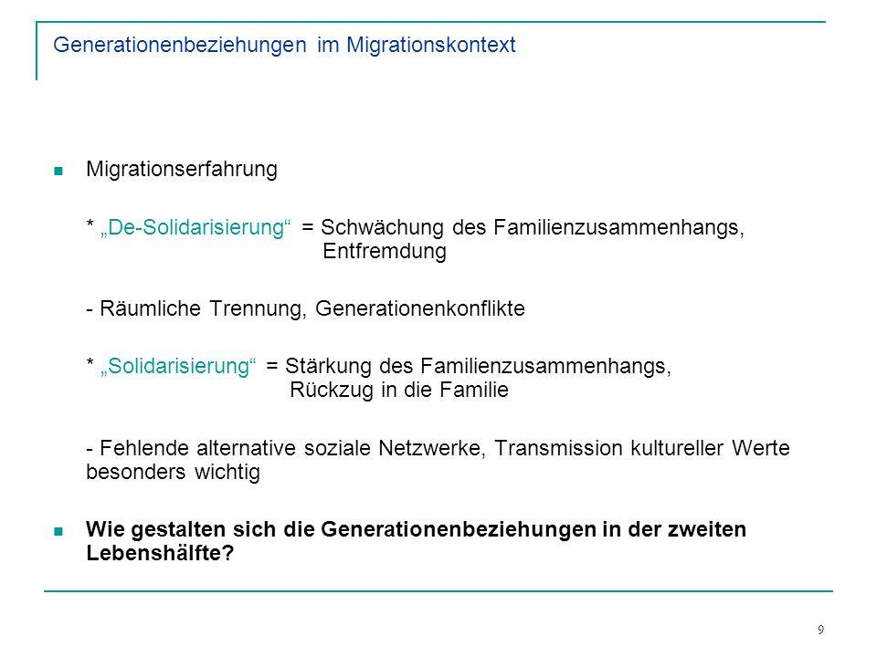 9 Generationenbeziehungen im Migrationskontext Migrationserfahrung * De-Solidarisierung = Schwächung des Familienzusammenhangs, Entfremdung - Räumlich