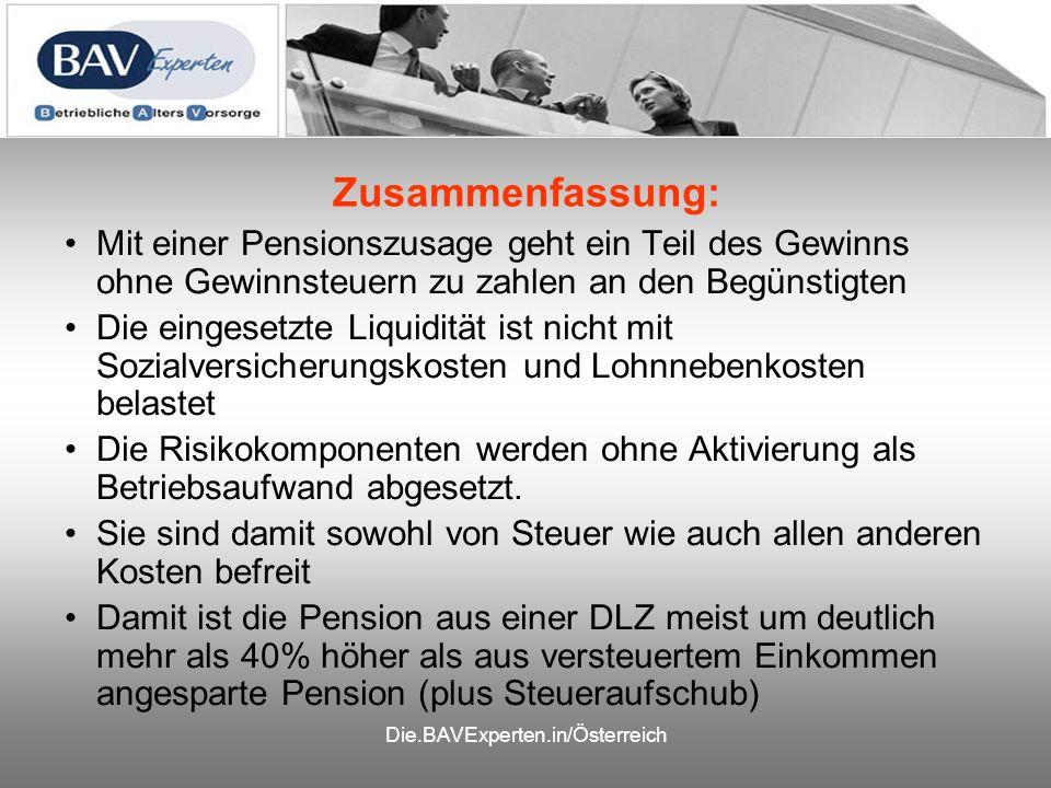 Zusammenfassung: Mit einer Pensionszusage geht ein Teil des Gewinns ohne Gewinnsteuern zu zahlen an den Begünstigten Die eingesetzte Liquidität ist ni
