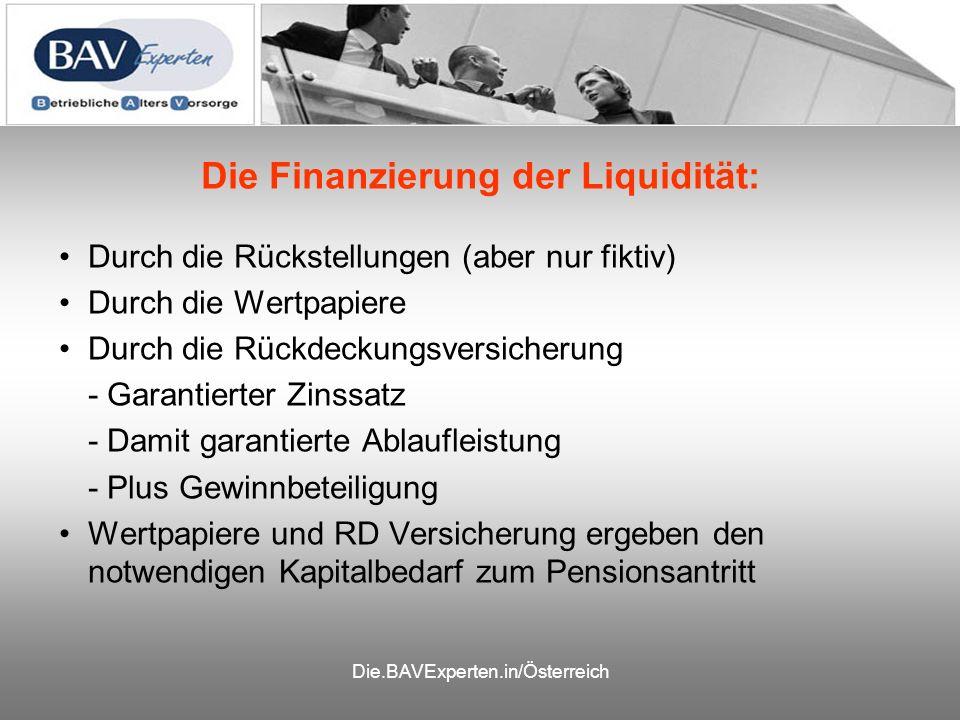 Die.BAVExperten.in/Österreich Die Finanzierung der Liquidität: Durch die Rückstellungen (aber nur fiktiv) Durch die Wertpapiere Durch die Rückdeckungsversicherung - Garantierter Zinssatz - Damit garantierte Ablaufleistung - Plus Gewinnbeteiligung Wertpapiere und RD Versicherung ergeben den notwendigen Kapitalbedarf zum Pensionsantritt