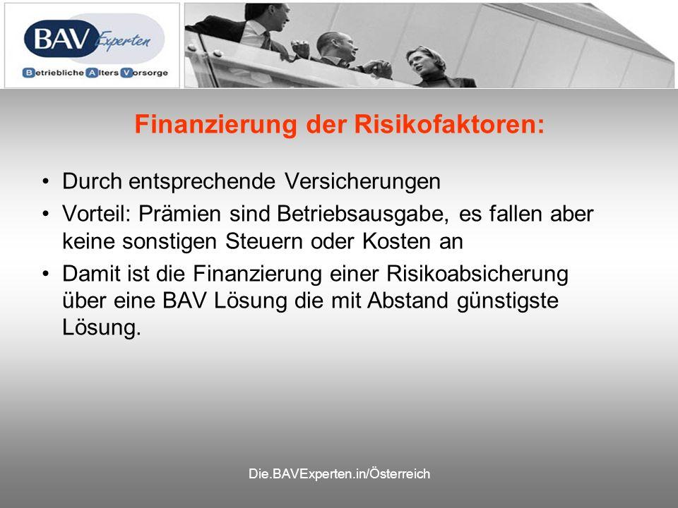 Die.BAVExperten.in/Österreich Finanzierung der Risikofaktoren: Durch entsprechende Versicherungen Vorteil: Prämien sind Betriebsausgabe, es fallen aber keine sonstigen Steuern oder Kosten an Damit ist die Finanzierung einer Risikoabsicherung über eine BAV Lösung die mit Abstand günstigste Lösung.