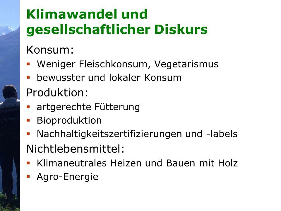 Klimawandel und gesellschaftlicher Diskurs Konsum: Weniger Fleischkonsum, Vegetarismus bewusster und lokaler Konsum Produktion: artgerechte Fütterung