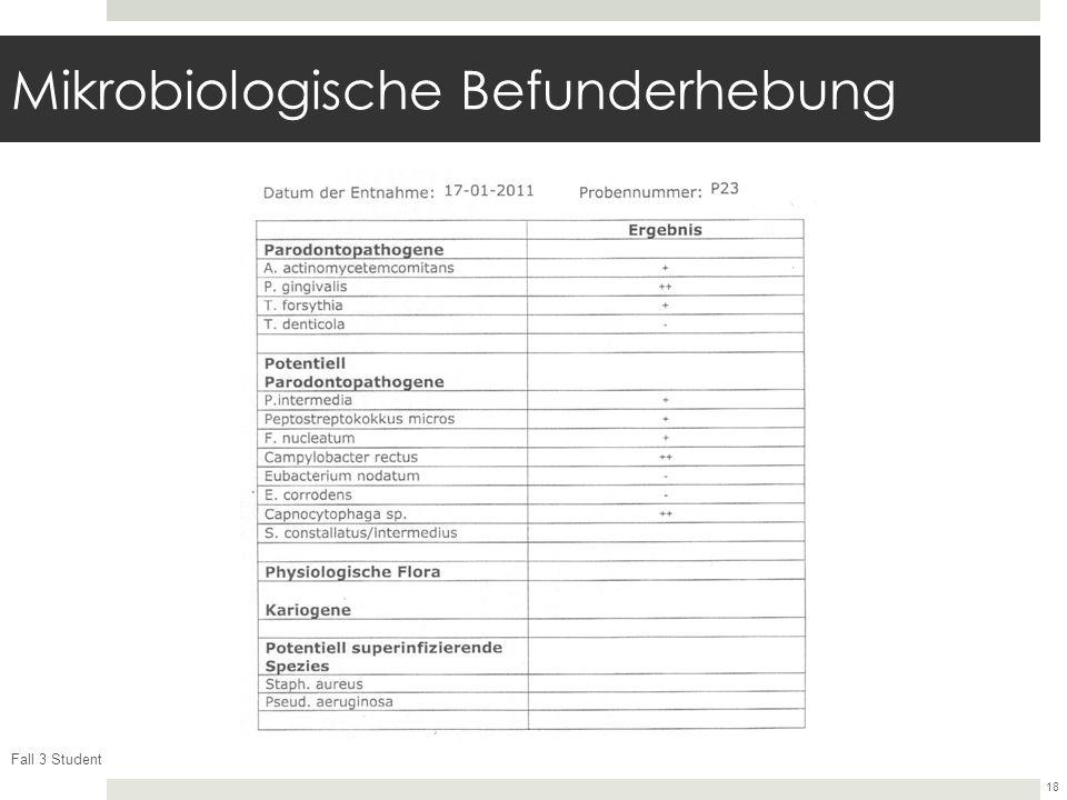 Fall 3 Student 18 Mikrobiologische Befunderhebung