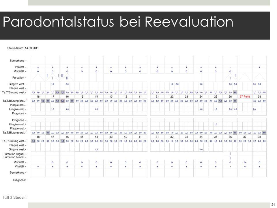 Fall 3 Student 24 Parodontalstatus bei Reevaluation