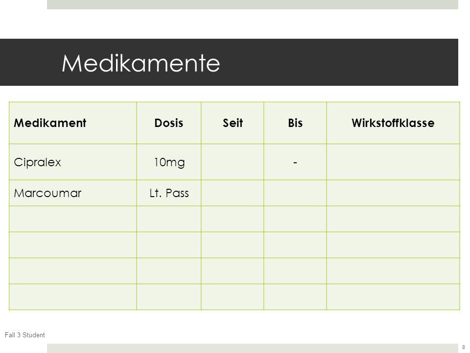 Fall 3 Student 8 Medikamente MedikamentDosisSeitBisWirkstoffklasse Cipralex10mg- MarcoumarLt. Pass