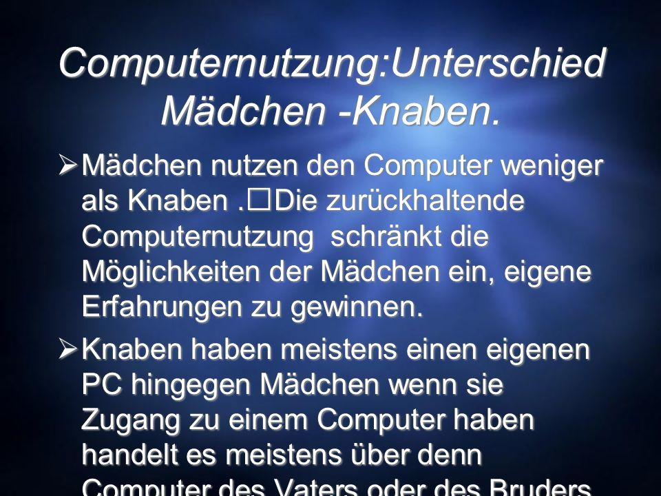 Computernutzung:Unterschied Mädchen -Knaben. Mädchen nutzen den Computer weniger als Knaben.Die zurückhaltende Computernutzung schränkt die Möglichkei
