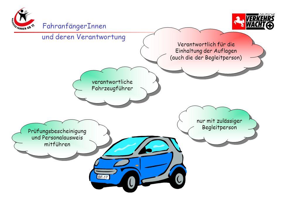 FahranfängerInnen verantwortliche Fahrzeugführer nur mit zulässiger Begleitperson Prüfungsbescheinigung und Personalausweis mitführen Prüfungsbeschein