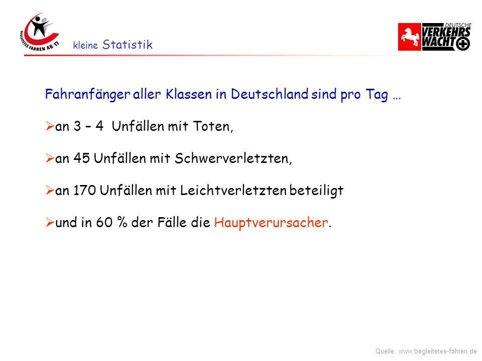 Fahranfänger aller Klassen in Deutschland sind pro Tag … an 3 – 4 Unfällen mit Toten, an 45 Unfällen mit Schwerverletzten, an 170 Unfällen mit Leichtv
