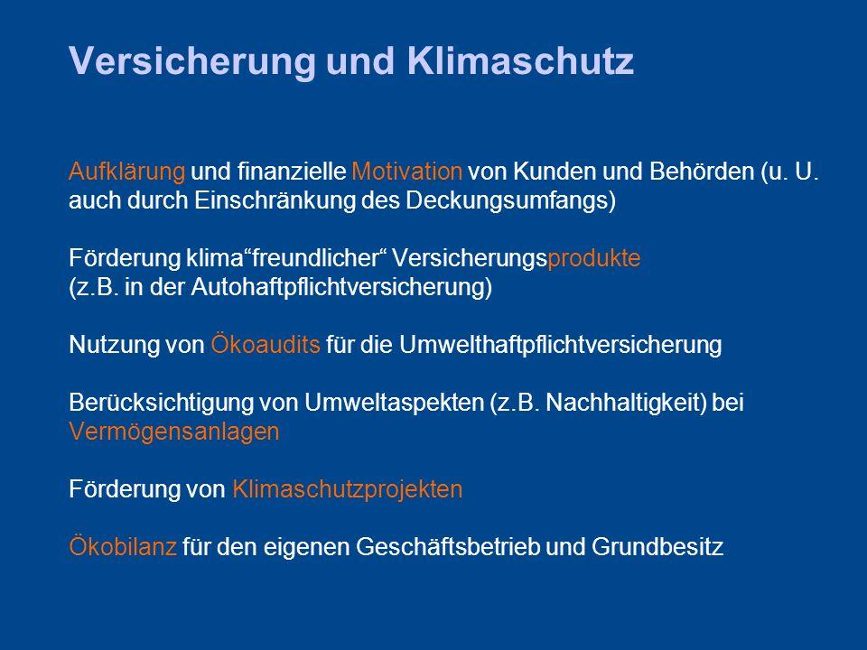 Versicherung und Klimaschutz Aufklärung und finanzielle Motivation von Kunden und Behörden (u.