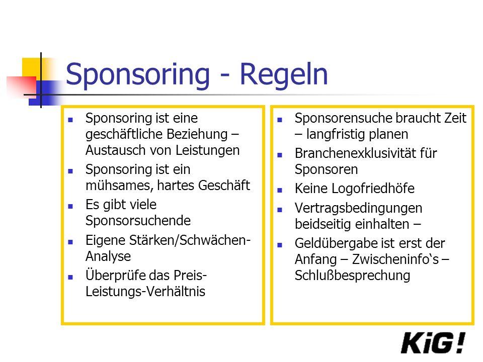Sponsoring - Regeln Sponsoring ist eine geschäftliche Beziehung – Austausch von Leistungen Sponsoring ist ein mühsames, hartes Geschäft Es gibt viele Sponsorsuchende Eigene Stärken/Schwächen- Analyse Überprüfe das Preis- Leistungs-Verhältnis Sponsorensuche braucht Zeit – langfristig planen Branchenexklusivität für Sponsoren Keine Logofriedhöfe Vertragsbedingungen beidseitig einhalten – Geldübergabe ist erst der Anfang – Zwischeninfos – Schlußbesprechung