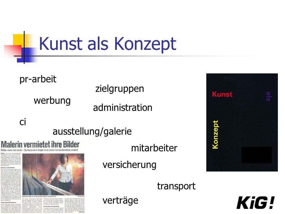 Kunst als Konzept pr-arbeit werbung zielgruppen administration ci transport mitarbeiter versicherung ausstellung/galerie verträge