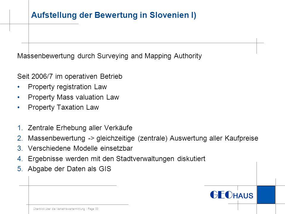 Überblick über die Verkehrswertermittlung | Page 33 Aufstellung der Bewertung in Slovenien I) Massenbewertung durch Surveying and Mapping Authority Se