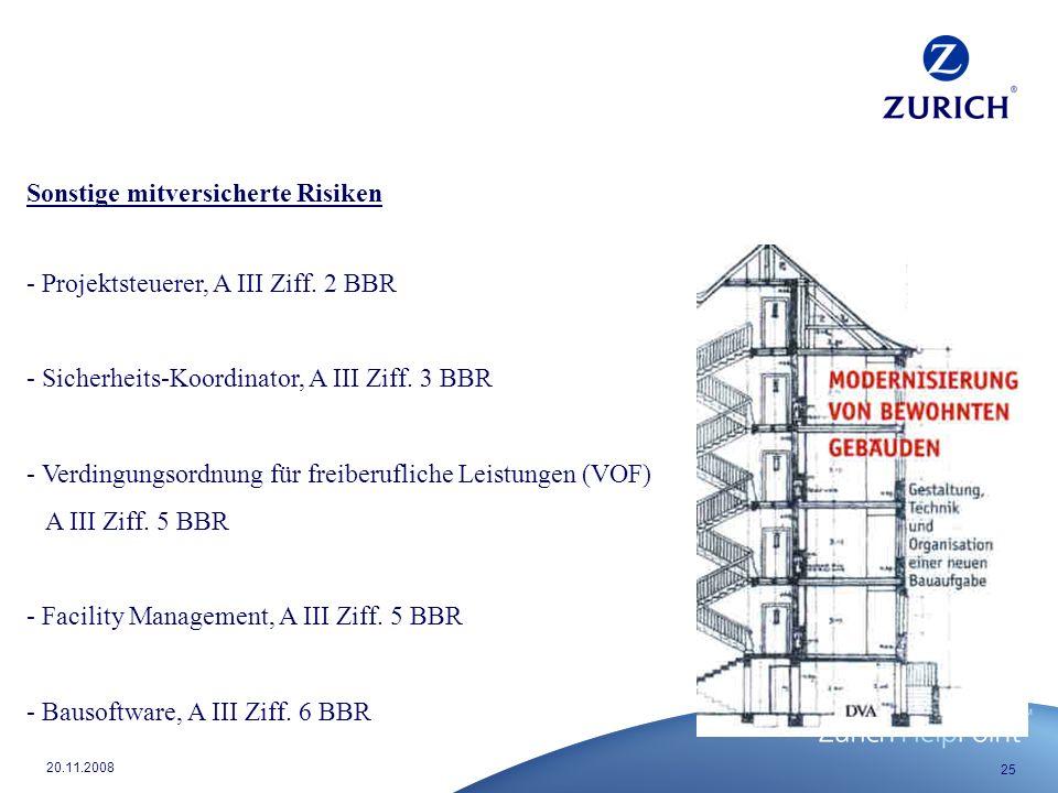 25 20.11.2008 Sonstige mitversicherte Risiken - Projektsteuerer, A III Ziff.