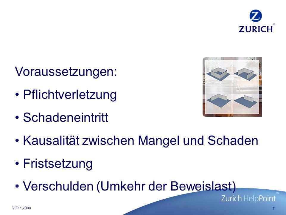 8 20.11.2008 Verjährung von Schadenersatzansprüchen aufgrund von Planungsmängeln § 634 a BGB: - Werkleistungen ohne Bauwerke, Nr.