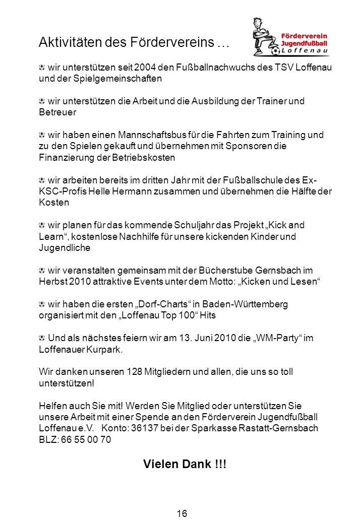 16 Aktivitäten des Fördervereins … wir unterstützen seit 2004 den Fußballnachwuchs des TSV Loffenau und der Spielgemeinschaften wir unterstützen die A