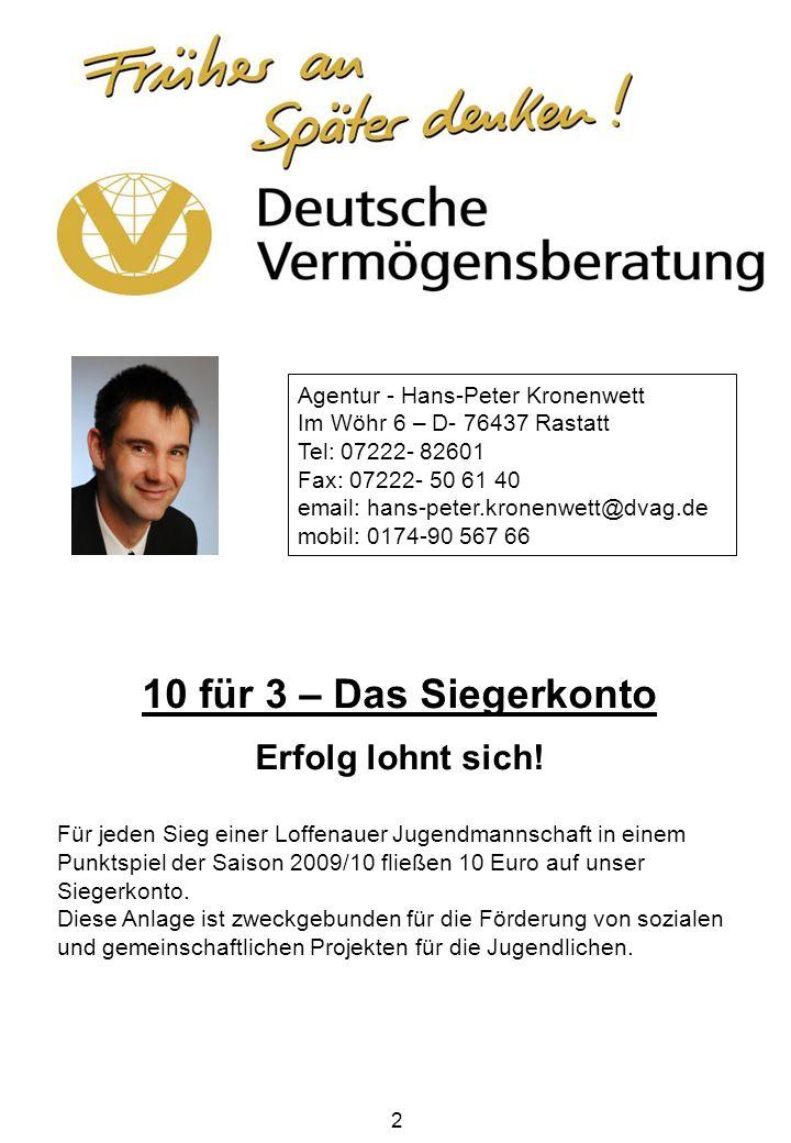 2 Agentur - Hans-Peter Kronenwett Im Wöhr 6 – D- 76437 Rastatt Tel: 07222- 82601 Fax: 07222- 50 61 40 email: hans-peter.kronenwett@dvag.de mobil: 0174