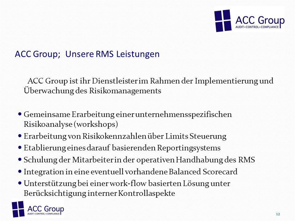 ACC Group; Unsere RMS Leistungen ACC Group ist ihr Dienstleister im Rahmen der Implementierung und Überwachung des Risikomanagements Gemeinsame Erarbe
