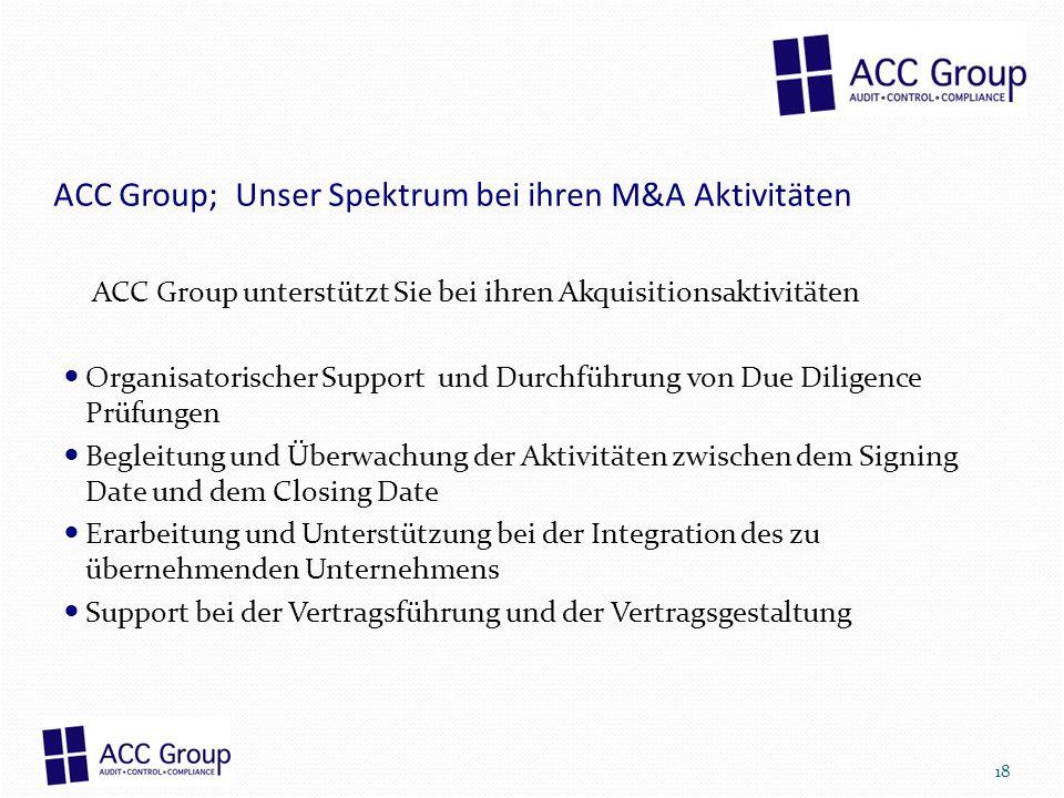 ACC Group; Unser Spektrum bei ihren M&A Aktivitäten ACC Group unterstützt Sie bei ihren Akquisitionsaktivitäten Organisatorischer Support und Durchfüh