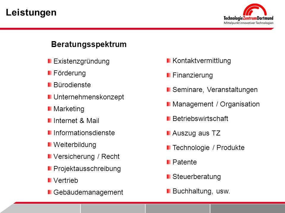 Leistungen Existenzgründung Förderung Bürodienste Unternehmenskonzept Marketing Internet & Mail Informationsdienste Weiterbildung Versicherung / Recht